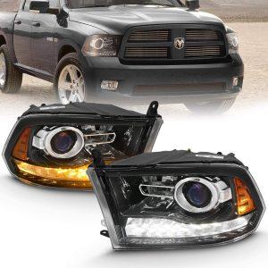 AmeriLite Jet Black Projector Headlights For 2009-2018 Dodge Ram